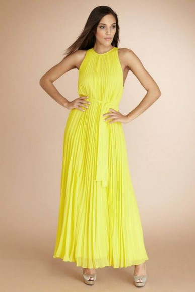 maxi dress yellow dress pleated dress