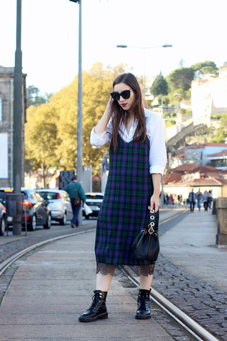 dress tumblr midi dress tartan tartan dress slip dress shirt white shirt boots black boots biker boots sunglasses