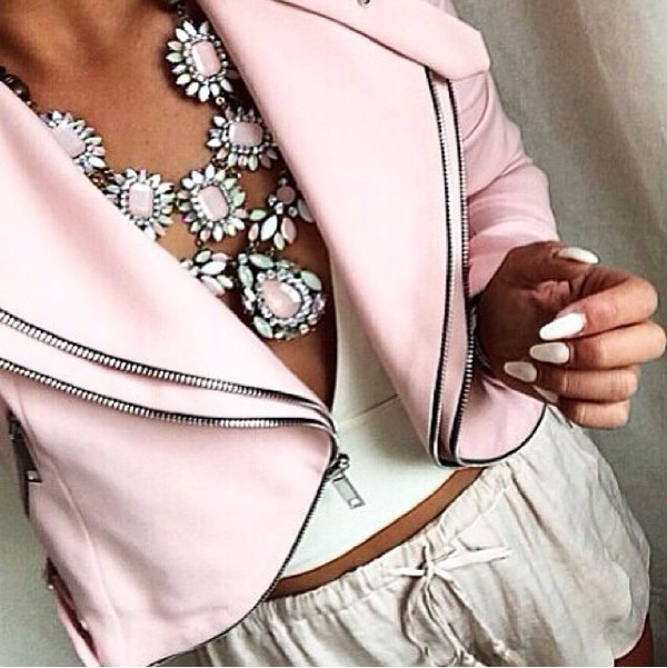 Online Shop leather jacket women Vogue Cute Pink Double Zipper ...