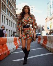 romper,floral romper,long sleeve romper,cowgirl boots,over the knee,belt,shoulder bag,leopard print