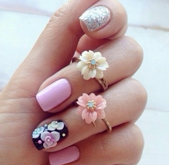 jewels flower jewelry flowers ring sliver gold floral rings cute must nails floral musthave scarf rose pink yellow knuckle ring