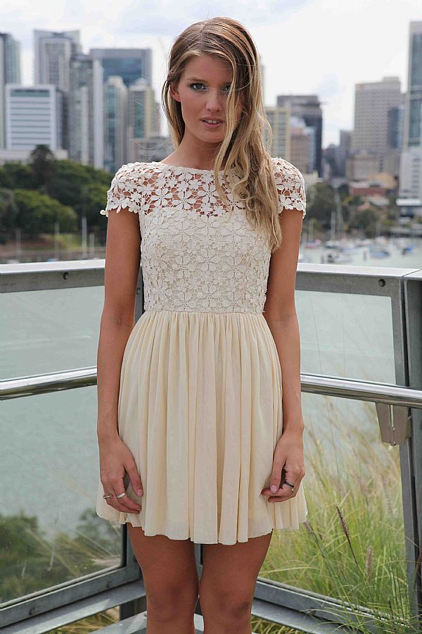 white Day Dress - Embroidered Lace Top Dress with  UsTrendy