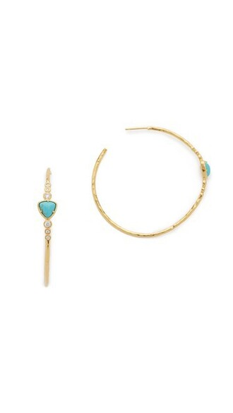 earrings hoop earrings gold turquoise jewels