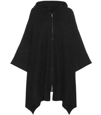 poncho silk black top