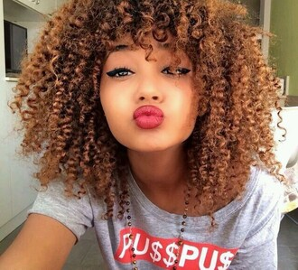 make-up matte lipstick red lipstick shirt curly hair