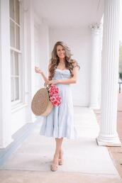 southern curls and pearls,blogger,dress,shoes,bag,make-up,round bag,midi dress,sandals,straw bag,spring outfits