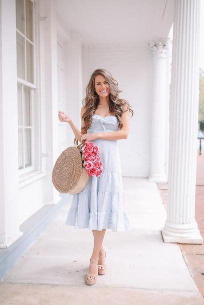 southern curls and pearls blogger dress shoes bag make-up round bag midi dress sandals straw bag spring outfits