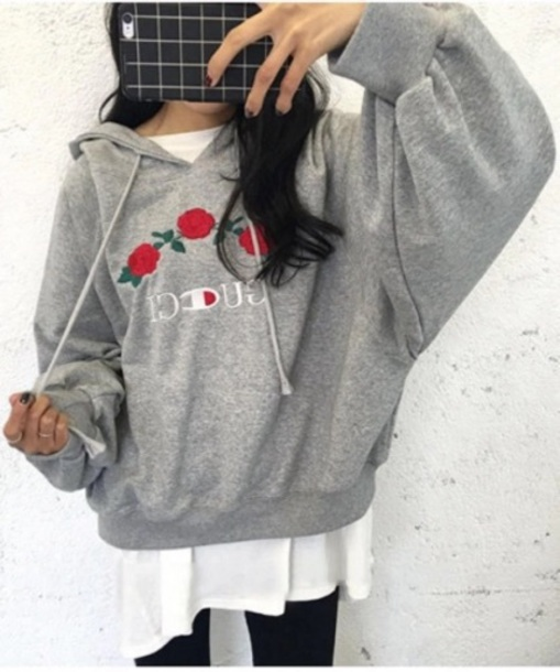 Sweater: tumblr, tumblr outfit, grey, grey sweater, hoodie ...