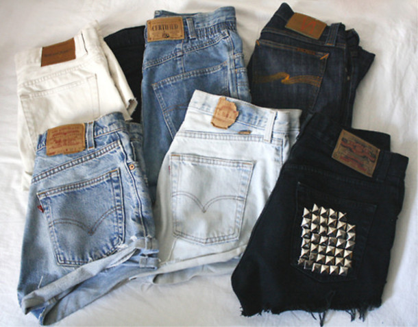 2b182360ec shorts hipster High waisted shorts spikes black blue jeans vintage levi's  shorts black high waisted black