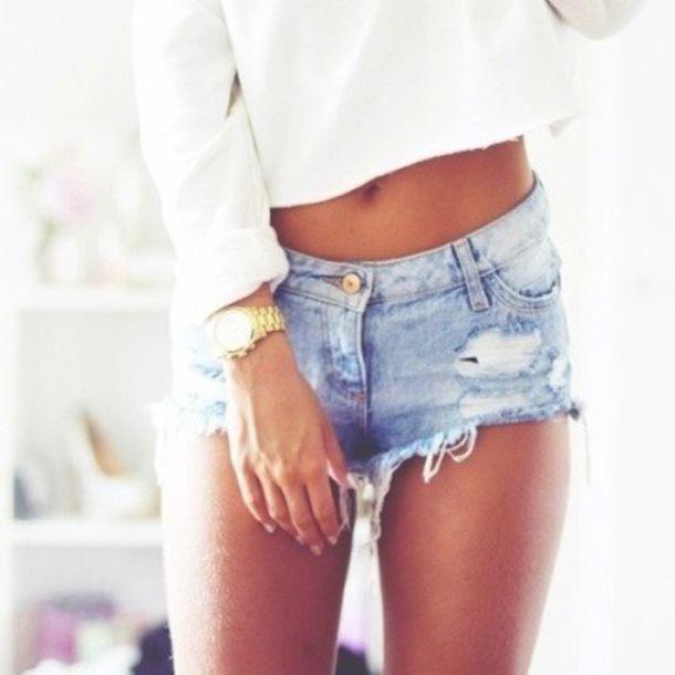 Shorts jeans ripped denim ripped shorts tank top jewels cut off shorts cute shorts ...