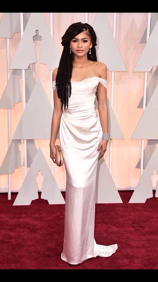 Dress Zendaya White Dress Clutch Oscars 2015 Gown