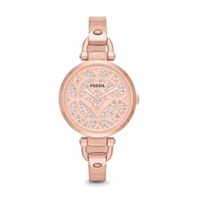 Georgia Three-Hand Bangle Watch - Rose