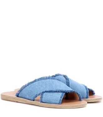 denim sandals leather sandals leather blue shoes