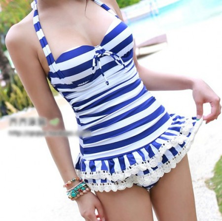 Monokinisuits.com |   Navy & White Stripe One Piece with Crochet Ruffle Bottom