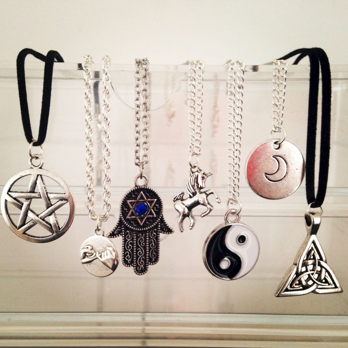 Silver Charm Necklace - ✝ ☪ ☯ ▲ Dollface London Online Jewellery Boutique ▲ ☯ ☪ ✝