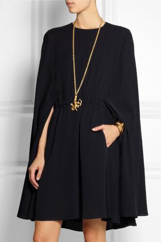 dress valentino cape black pockets caped dress