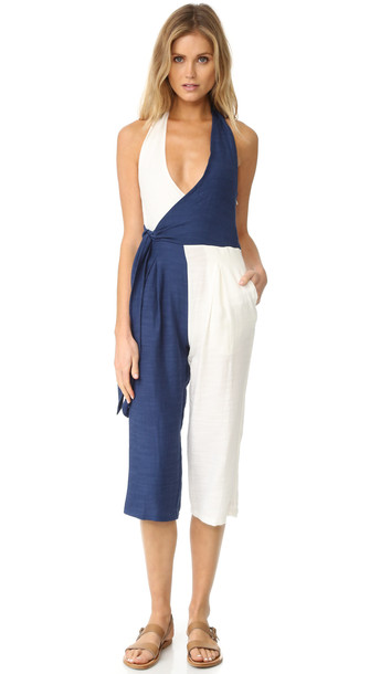 Solid & Striped The Camille Jumpsuit - Navy/Cream