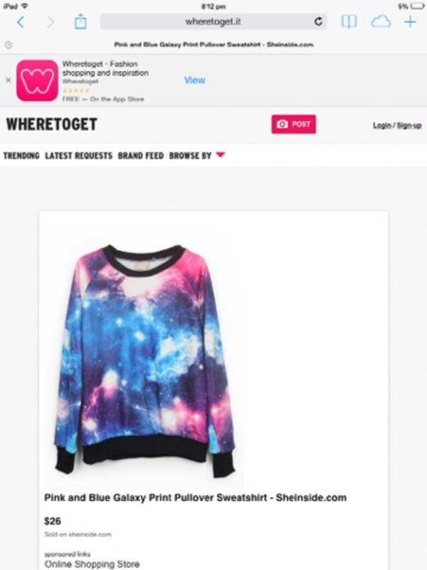 shirt blue and pink galaxy print tumblr sweatshirt