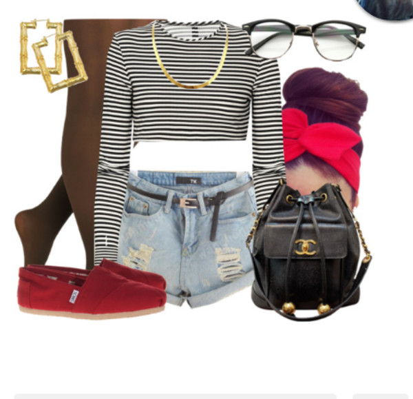 blouse tights bag shoes jewels sunglasses hair accessory