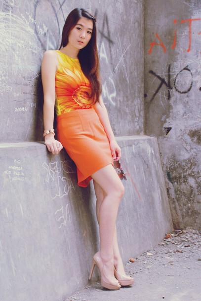 skirt persunmall skirt persunmall summer orange outfit
