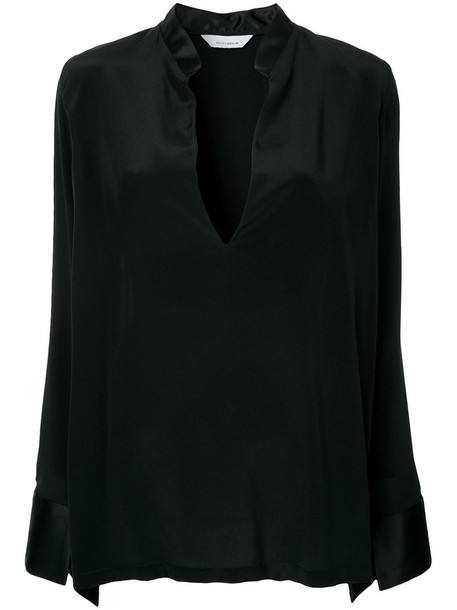 blouse women black silk top