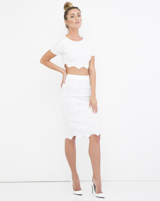 top crop tops skirt white white outfit midi skirt pencil skirt