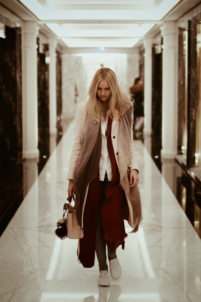 en vogue coop blogger scarf coat blouse burgundy winter outfits superga