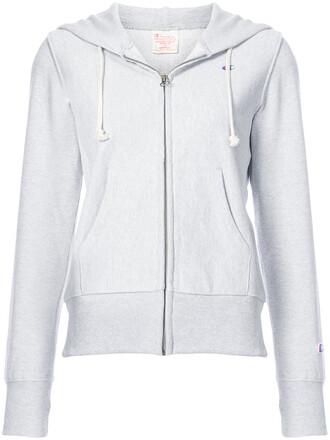 hoodie zip women classic cotton grey sweater