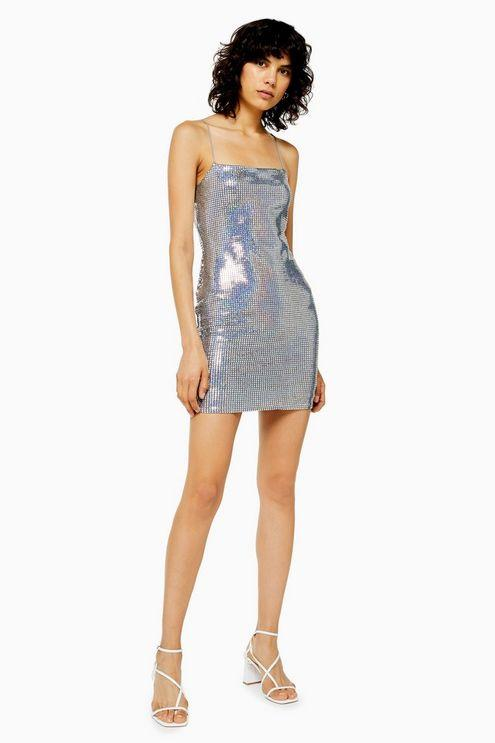 Holographic Mini Bodycon Dress - Multi