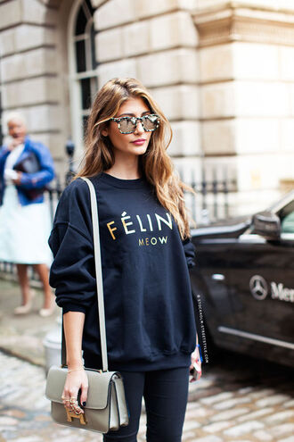 sweater cute navy blue jumper feline cats meow fashion model sweet lovely love bag graphic sweatshirt sunglasses pants purse snake sun print beige summer streetstyle black blue sweater