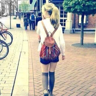 bag hipster girl red brown white blonde hair black shorts overknee socks