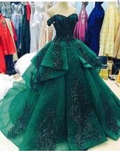 dress,emerald green,green,ball gown dress,formal,green dress,evening wear,evening dress,sparkle