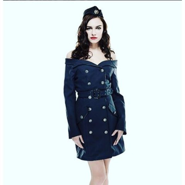 dress punk rave blue dress military style military coat sexy military