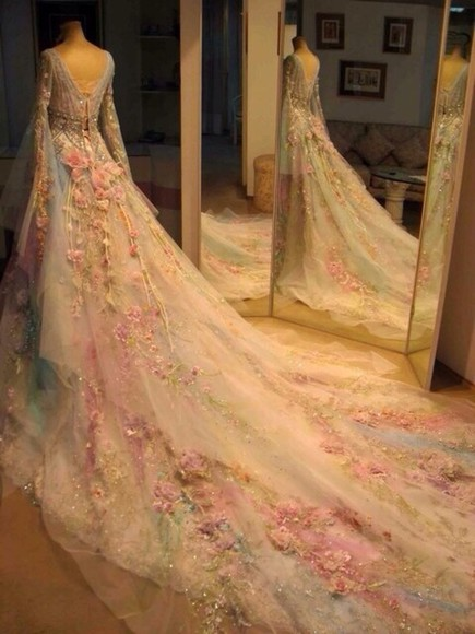 fairytale dress flowers floral light blue pink pastel wedding dress