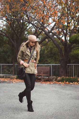 my blonde gal blogger jacket army green jacket