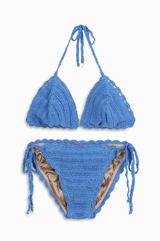 bikini triangle bikini triangle women crochet blue swimwear