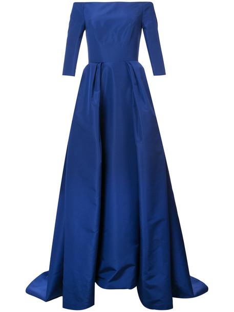 Carolina Herrera gown off the shoulder women blue silk dress