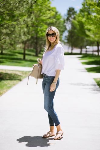 ivory lane blogger top jeans shoes bag make-up