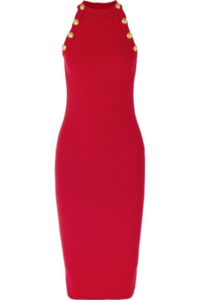 Balmain - Ribbed Wool-blend Midi Dress - Red