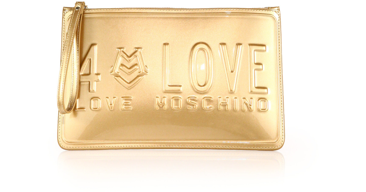 a12f94fa8a7ef Love Moschino | Gold Love License Metallic Faux Leather Clutch | Lyst