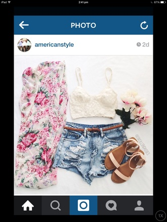 cardigan floral kimono shirt pink white style coat shoes floral kimono girly sweet light green pastel rosy top shorts where to get this outfit! white crop tops outfit denim shorts flat sandals