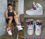 shoes,jeremy scott,adidas instinct,adidas jeremy scott instinct,adidas,sneakers,union jack,high top sneakers