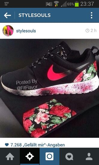 shoes nike free run women shoes nike spraypainted red clothes colorful event material trendy flowers green sneakers roses cute flannel