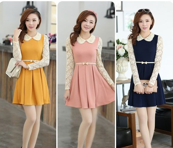 2014 New Fashion  Spring And Autumn Preppy Style Lace Peter Pan Collar One piece Dress With Belt Female Women Blouse-inDresses from Apparel & Accessories on Aliexpress.com