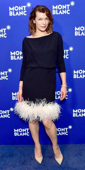 dress feathers black and white milla jovovich