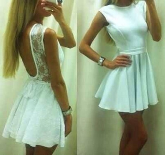 dress white open back white dress short deeds sleeves