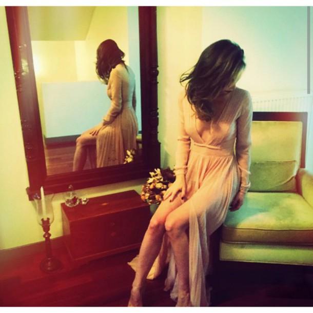 dress beige long long dress flowy dress slit dress girly boho classy long sleeves