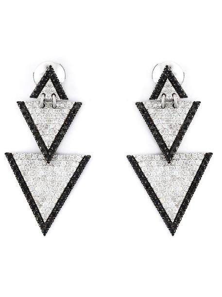 elise dray triangle women earrings gold grey metallic jewels