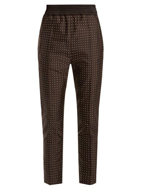 HAIDER ACKERMANN Soens polka-dot embroidered silk-blend trousers in black / multi