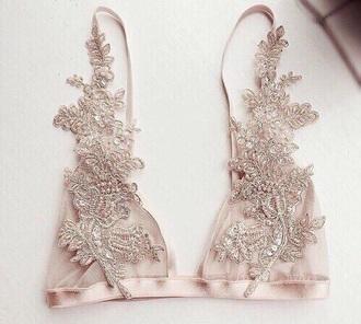 underwear bra lace bra floral cute lingerie beige without armature nude details